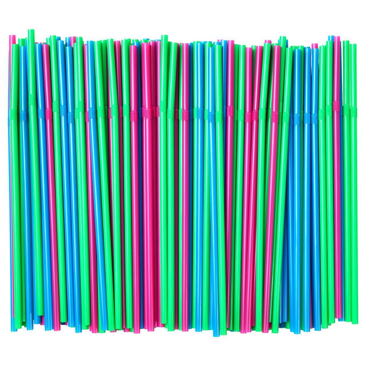 IKEA SODA (503.545.98) Трубочки, зеленый флуоресцентный, ярко-синий/ярко-розовый