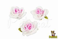 Роза бело-розовая из фоамирана (латекса) 6,5 см 1 шт