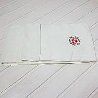 """Кухонное махровое полотенце """"Узор"""" 26*50, цвет: молочный"""
