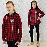Рубашка с капюшоном для девочек, красная клетка.