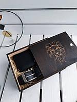 Подарочный набор для мужчин Большой кожаный кошелек-клатч и мужской класический кожаный ремень Черный (0002)
