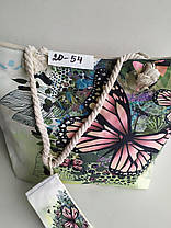 Женская пляжная сумка большая с кошельком летняя Принт Бабочка П-20-54, фото 2