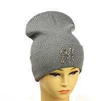 """Молодіжна шапка з декором """"NewYork"""" сірий"""
