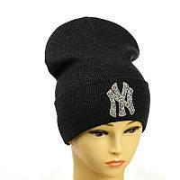 """Молодіжна шапка з декором """"NewYork"""" темно - сірий"""