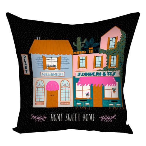 Подушка с принтом Home sweet home 30x30, 40x40, 50x50 (3P_20L070)