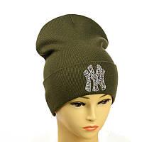 """Молодіжна шапка з декором """"NewYork"""" хакі"""