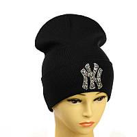 """Молодіжна шапка з декором """"NewYork"""" чорний"""
