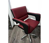 Кресло парикмахерское Flamingo на пневматике Крестовина Хром, КЗ Vicenza Crimson/ Grizzly (Velmi TM)