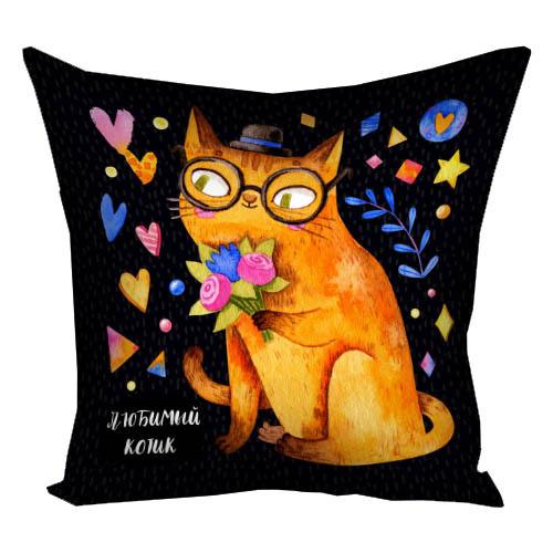 Подушка с принтом Любимый котик 40x40 см (4P_20L010_RUS)