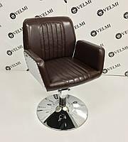Крісло перукарське Infinity на пневматиці Хром Диск, КЗ Boom-12 (Velmi TM)