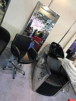 Крісло перукарське Infinity на пневматиці Хрестовина Хром, КЗ Boom-24 (Velmi TM)