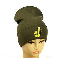 """Молодіжна шапка з декором """"Tik-Tok"""" хакі"""