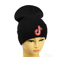 """Молодіжна шапка з декором """"Tik-Tok"""" чорний"""