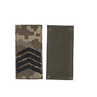 Погон на липучке Старший сержант, шеврон ЗСУ, черный цвет на пикселе.