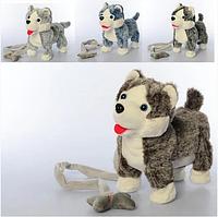 Собака интерактивная мягкая на поводке 2141