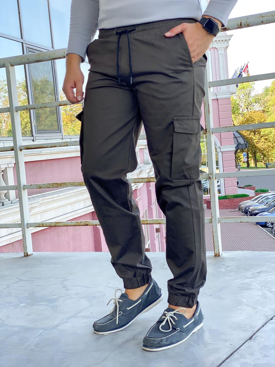 Коттоновые мужские джоггеры с накладным карманом