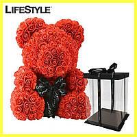 Мишка из Роз 25см + Подарок Роза в колбе / Мишка из цветов в подарочной коробке