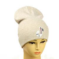"""Молодіжна шапка з декором """"Tik-Tok"""" бежевий"""
