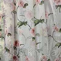 Тюль с цветочным принтом из батиста на метраж, высота 2.8 м, фото 5