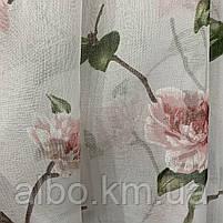Тюль с цветочным принтом из батиста на метраж, высота 2.8 м, фото 3