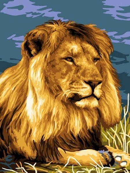 Картина по номерам 30×40 см. Babylon Отдыхающий лев (VK 206)