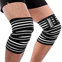 Бинты на колени Power System Knee Wraps черно-серые