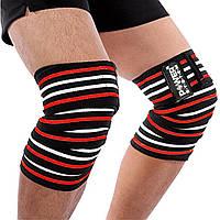 Бинты на колени Power System Knee Wraps Черно - красные