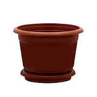 Горшок цветочный D 16,5 см коричневый Юнипласт