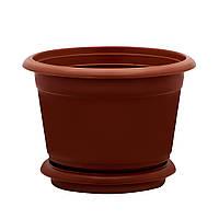 Горшок цветочный D 20 см коричневый Юнипласт