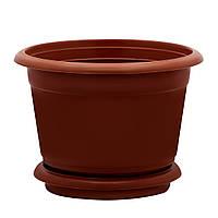 Горщик квітковий D 25 см коричневий Юнипласт