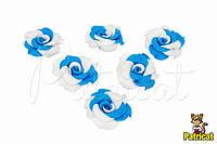 Цветы Роза бело-голубые из фоамирана 3,5 см 10 шт/уп