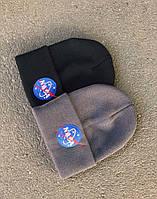 Шапка мужская Nasa черного цвета. Зимняя теплая мужская шапка Наса черная., фото 1