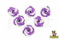 Цветы Розы фиолетово-белые из фоамирана 3,5 см 10 шт/уп