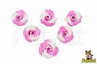 Цветы Розы бело-розовые из фоамирана (латекса) 3 см 10 шт/уп