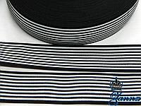 Тесьма эластичная 5 см черно-белого цвета Волна, фото 1
