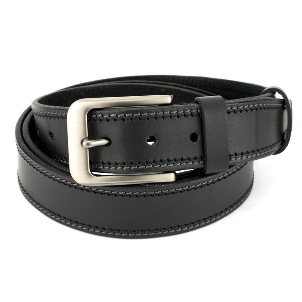 Ремень мужской кожаный SF-352 черный (125 см)
