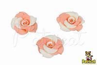Цветы Розы Бело-персиковые из фоамирана 3,5 см 10 шт/уп