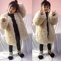 Модное детское пальто из шерсти ягненка для девочек