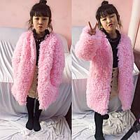 Розовое пальто из шерсти ягненка для девочек