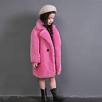 Детская шуба для стрижки овец, костюм с воротником и мишкой из 100% шерсти и шубы для девочек, фото 1