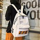 Молодежный рюкзак бежевый с надписями водоотталкивающий., фото 4