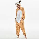 Пижамы кигуруми для взрослых мультяшная теплая пижама комбинезон кигуруми Олень с капюшоном, фото 3