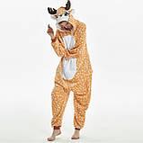 Пижамы кигуруми для взрослых мультяшная теплая пижама комбинезон кигуруми Олень с капюшоном, фото 2