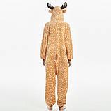 Пижамы кигуруми для взрослых мультяшная теплая пижама комбинезон кигуруми Олень с капюшоном, фото 4