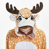 Пижамы кигуруми для взрослых мультяшная теплая пижама комбинезон кигуруми Олень с капюшоном, фото 6