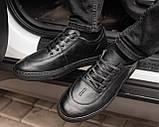 Мужские черные кроссовки из натуральной кожи, чоловічі чорні кросівки з натуральної шкіри, фото 2