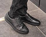 Мужские черные кроссовки из натуральной кожи, чоловічі чорні кросівки з натуральної шкіри, фото 3