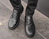 Мужские черные кроссовки из натуральной кожи, чоловічі чорні кросівки з натуральної шкіри, фото 5