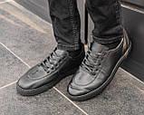 Мужские черные кроссовки из натуральной кожи, чоловічі чорні кросівки з натуральної шкіри, фото 4