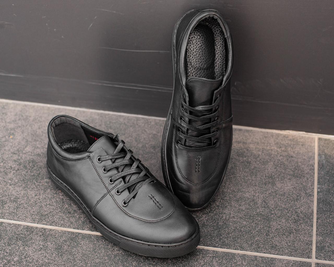 Мужские черные кроссовки из натуральной кожи, чоловічі чорні кросівки з натуральної шкіри